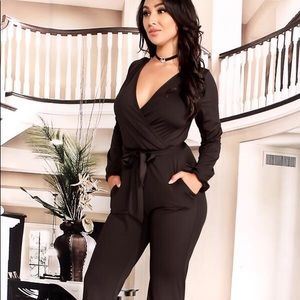 a17925bb63 Pants - Black Wrap front Long sleeve Jumpsuit